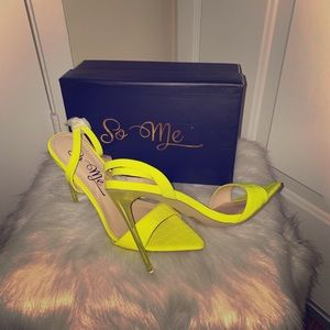 Neon Yellow Crocodile Heel